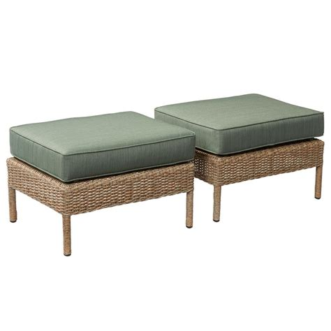 ottoman outdoor hton bay lemon grove wicker outdoor ottoman with