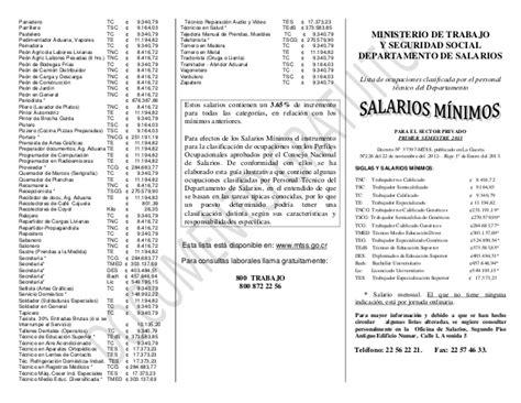 decreto salarios minimos costa rica 2016 salarios minimos enero 2016 costa rica lista de salarios m