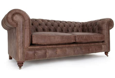 the judge rustic leather 3 seater chesterfield from