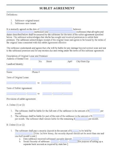 free new jersey sublease agreement form pdf template