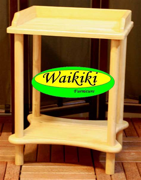 meja telpon dispenser dari white oak wood di aksesoris