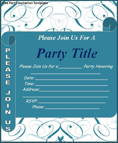 free party invitation template download page word excel pdf