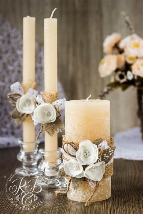 flower unity wedding ceremony ivory rustic unity candles personalization with rope