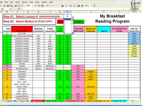 Spreadsheet Lesson Plans by Lesson Plan Selection