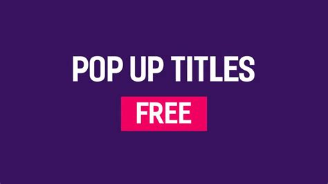 free pop up titles after effects templates motion array