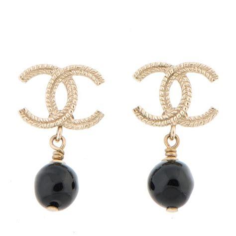 black bead earrings gold chanel cc bead drop earrings gold black 155129