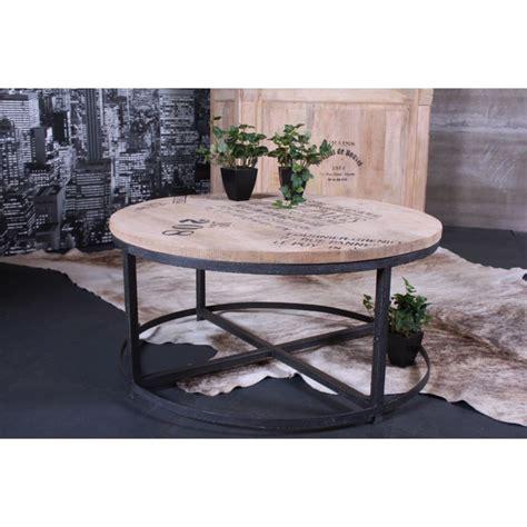 Délicieux Table De Jardin Mosaique Rectangulaire Pas Cher #6: Table-basse-ronde-C3B8-90cm-loft-table-salon-bar-bois-mC3A9tal-jolipa-45117-1-1.jpg