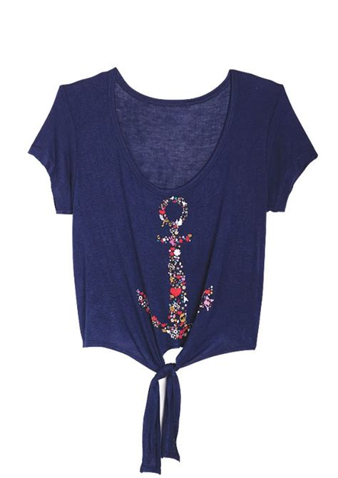 Greyscale Tops At Deliascom by Delias Gt Floral Anchor Tie Front Gt Tops Gt View All