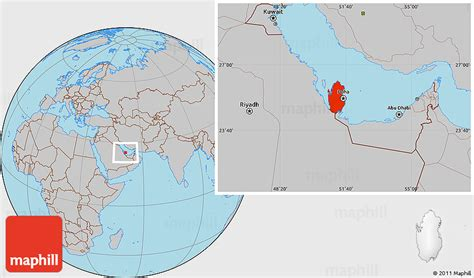qatar in world map gray location map of qatar