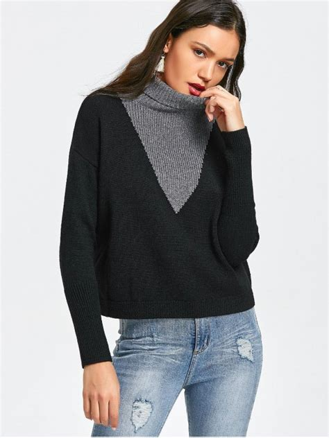 pullover two tone turtleneck sweater black and grey