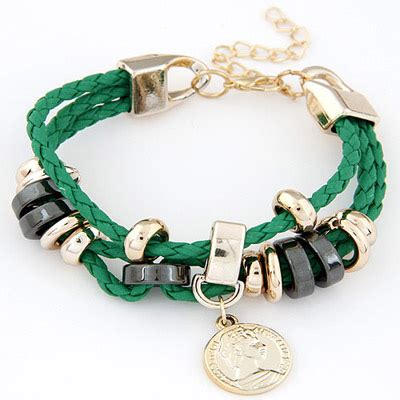 Gelang Korea Coin Shape Decorated Weave discount green coin shape decorated weave design alloy