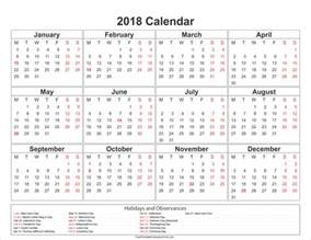 2018 Monthly Calendar With Holidays Free Printable Calendar 2018