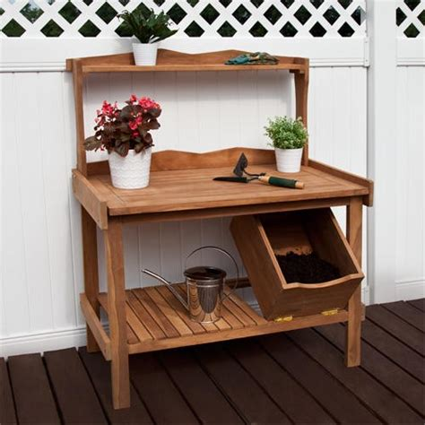 teak potting bench deluxe teak outdoor potting table outdoor