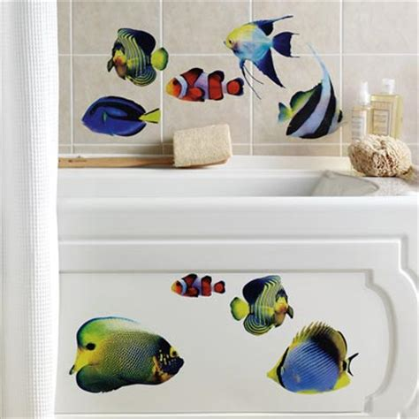 fish wall stickers bathroom tropical fish bathroom wall decals 14pc from collections