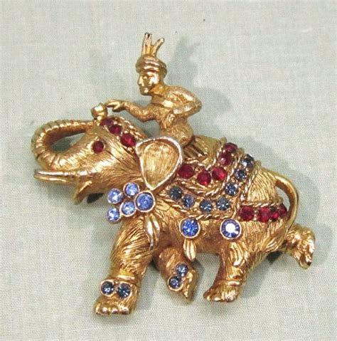 Vintage Glam Animal Necklaces by Hattie Carnegie Rhinestone Elephant Pin Brooch From