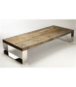 reclaimed wood coffee table stainless steel legs