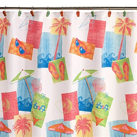 beach fabric shower curtain miami beach fabric shower curtain bed bath beyond