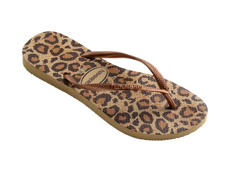 havaianas beige and brown leopard flip flops slim