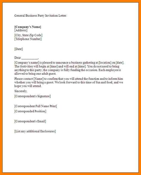Free General Business Letter Template invitation letter format for a gallery invitation