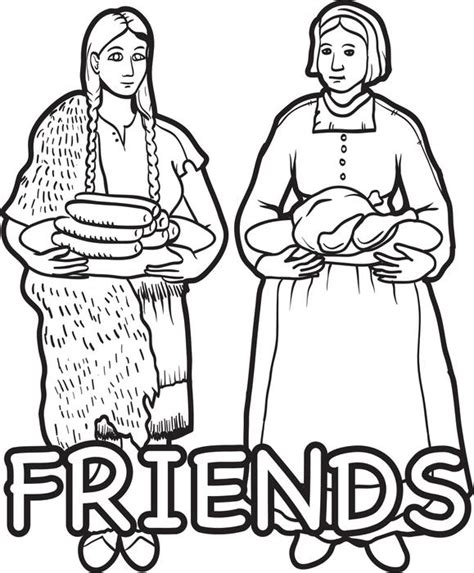 pilgrim indian coloring page free printable pilgrim and indian coloring page for kids 4