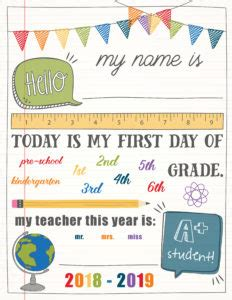 day of school sign template day of school printables free 21 layouts of pre