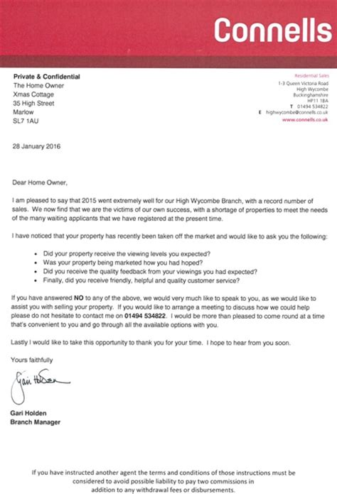 Market Appraisal Letter Real Estate Touting Letter Sent By Corporate To Seller Of Spoof Property Listed By Suttons City
