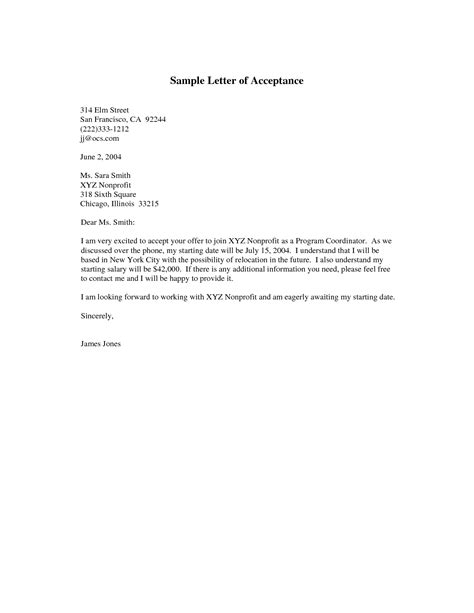 Offer Letter Accepting Email acceptance of offer letter format best template collection