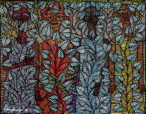 african pattern artists four women in bloom acrylic on african cloth 36 5 x 46 5