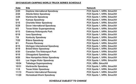 truck schedule 2015 2015 nascar schedule printable