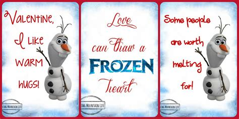 olaf printable valentines day cards frozen valentines free printables loving mountain life