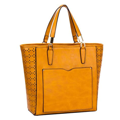 tote bag cutting pattern ladies new laser cut pattern front pocket pu leather