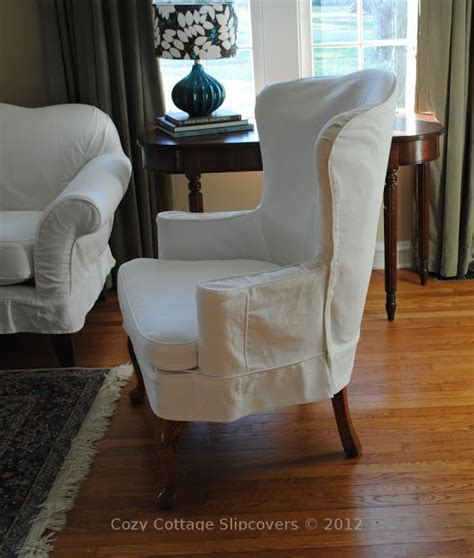 slipcovers for wing back chairs cozy cottage slipcovers white denim wing chair
