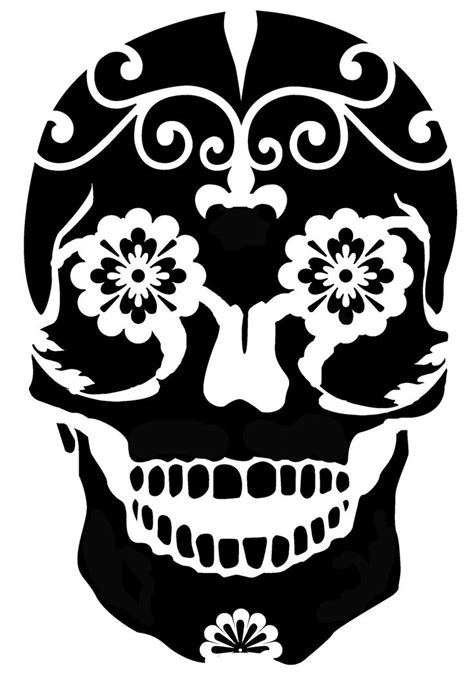 Printable Pumpkin Stencils Sugar Skull | sugar skull stencil for freezer paper or silhouette