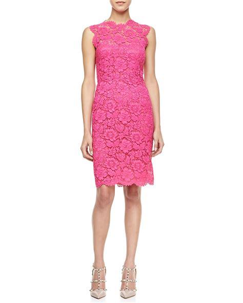 Pink Lace Dress 30580 valentino sleeveless lace sheath dress in pink framboise lyst