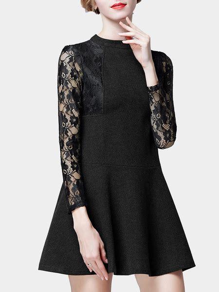 3 4 Sleeve Lace A Line Mini Dress black lace sleeve a line mini dress us 39 95 yoins