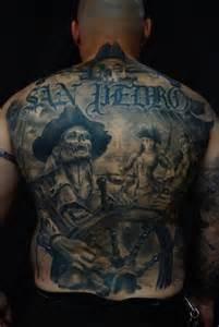 fantasy back skeleton pirate tattoo by carlos torres