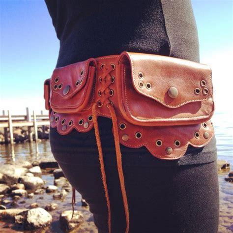 light brown leather pocket belt festival belt by