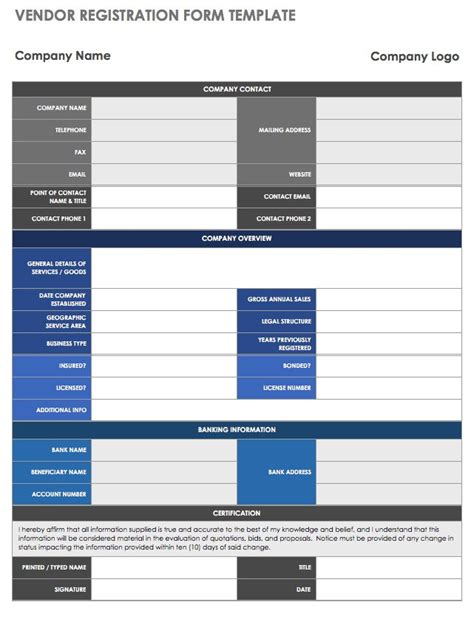 13 Free Vendor Templates Smartsheet Registration Form Template Excel