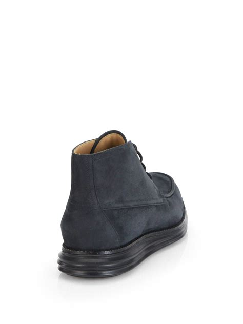 cole haan chukka boots cole haan lunargrand moc chukka boots in black for lyst