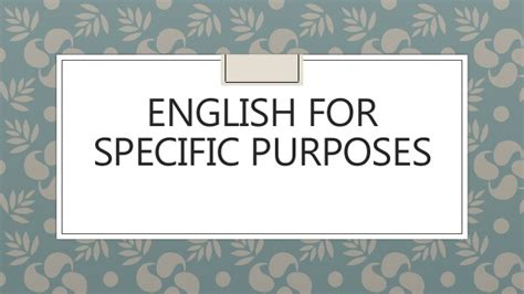 For Specifik Purposes for specific purposes