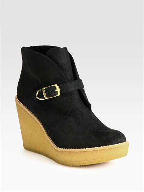 stella mccartney faux suede and faux shearling wedge ankle