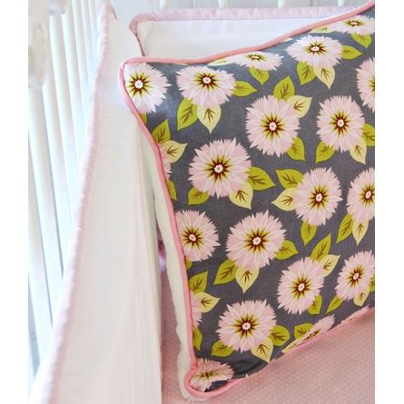 pink gray dahlia crib bedding set by caden