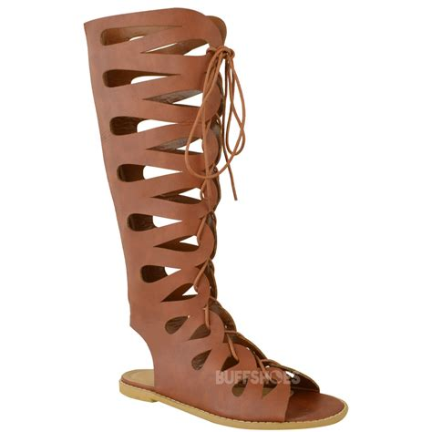 knee high sandals for sale womens flat knee high gladiator strappy sandals