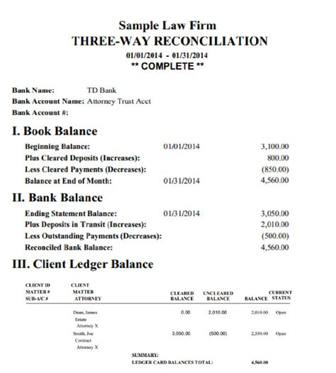 trust account reconciliation template images templates