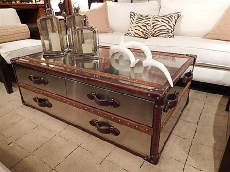 Metal Steamer Trunk Coffee Table Polished Metal Clad Steamer Trunk Style Coffee Table Lot 161