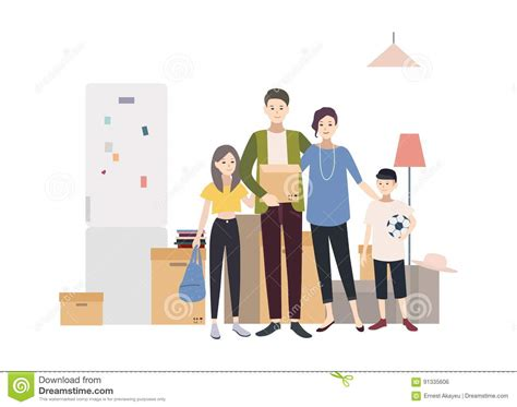Moving Greet Fashion House family moving into a new house with things illustration in flat style stock vector