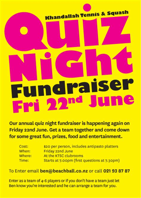 quiz night fundraiser friday 22nd june khandallah