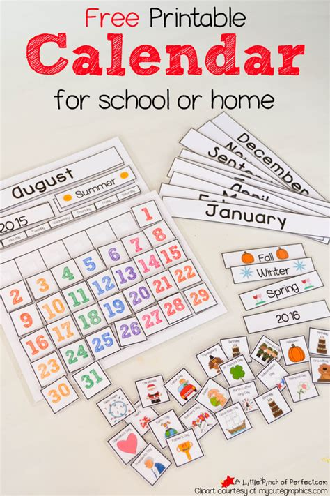 printable monthly calendar for kindergarten free printable interactive preschool calendar preschool