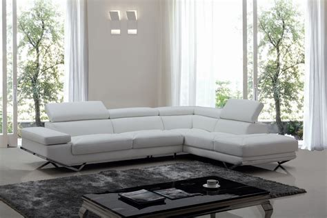 Divani Casa Quebec Modern White Eco Leather Sectional Sofa White Modern Sectional Sofa