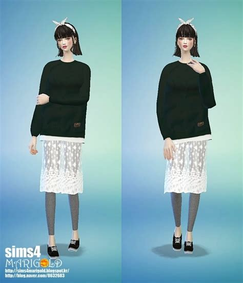 Lace H Line Skirt lace h line skirt with at marigold 187 sims 4 updates